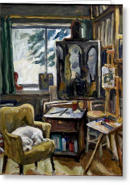 Chaise Paintings Greeting Cards - Studio Dog Greeting Card by Thor Wickstrom