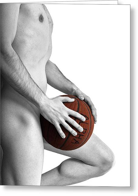 Basket Ball Greeting Cards - Studio Nude - Yanni No. 1 - The Alpha Male Greeting Card by Paul W Sharpe Aka Wizard of Wonders