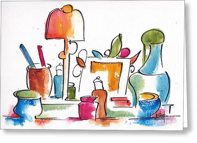 Alizarin Crimson Greeting Cards - Studio Pals Abstract #9 Greeting Card by Pat Katz