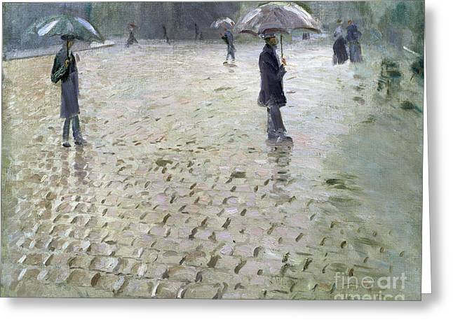 Commuters Greeting Cards - Study for a Paris Street Rainy Day Greeting Card by Gustave Caillebotte