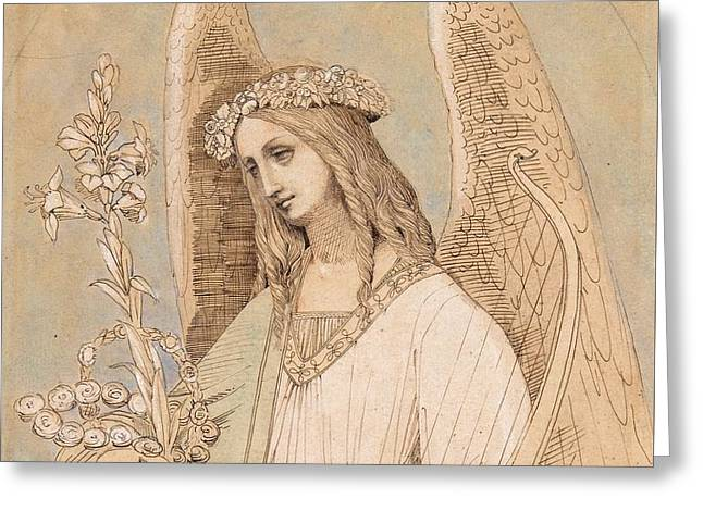 1874 Greeting Cards - Study for an angel Greeting Card by MotionAge Designs