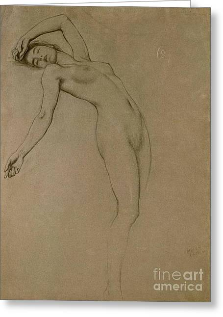 Nude Female Greeting Cards - Study for Clyties of the Mist Greeting Card by Herbert James Draper