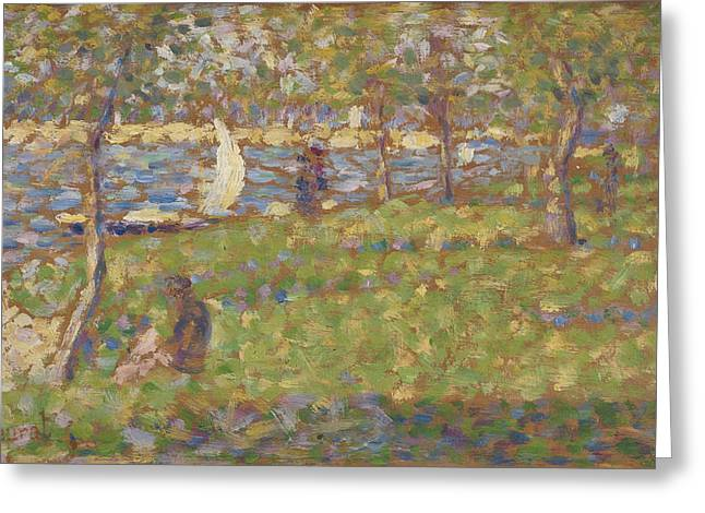 La Grande Jatte Greeting Cards - Study for La Grande Jatte Greeting Card by Georges Pierre Seurat