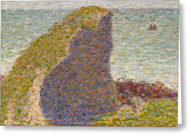 Seurat Greeting Cards - Study for Le Bec du Hoc Grandcamp Greeting Card by Georges-Pierre Seurat