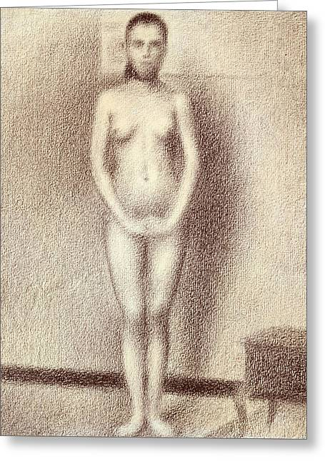 Beauty Pastels Greeting Cards - Study for Les Poseuses Greeting Card by Georges Pierre Seurat