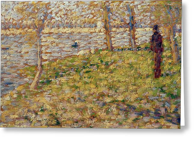 Pointillist Greeting Cards - Study for Sunday Afternoon on the Island of La Grand Jatte Greeting Card by Georges Pierre Seurat