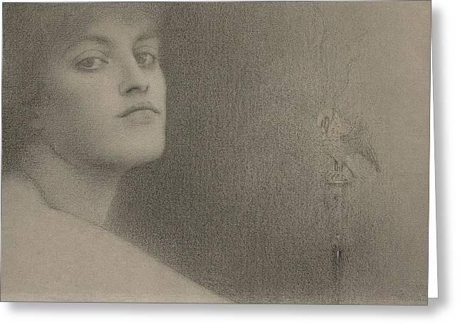 Portrait Of Woman Greeting Cards - Study for The Offering Greeting Card by Fernand Khnopff