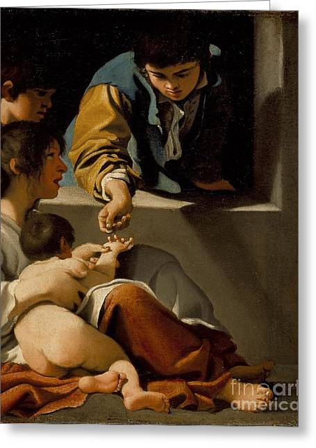 St Elizabeth Greeting Cards - Study for the The Charity of St. Elizabeth Greeting Card by Celestial Images