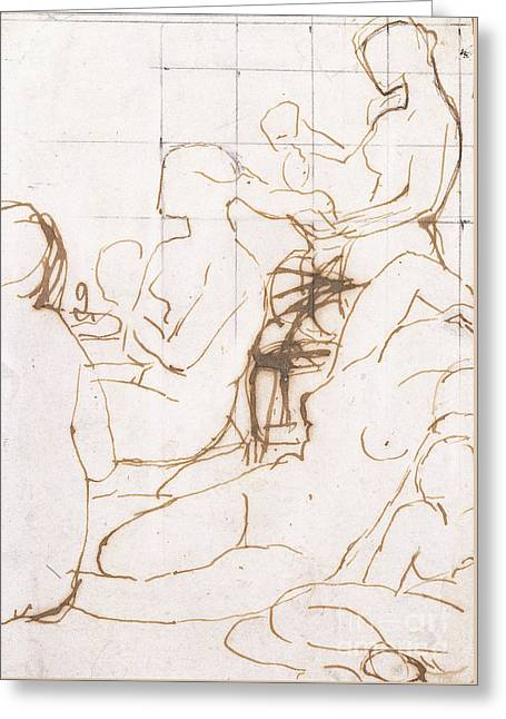 Study For The Turkish Bath Greeting Card by Jean Auguste Dominique Ingres