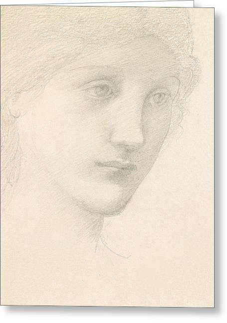 Portrait Of A Lady Greeting Cards - Study for the Venus in The Godhead Fires Greeting Card by Sir Edward Burne-Jones