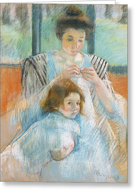 Study For Young Mother Sewing Greeting Card by Mary Stevenson Cassatt