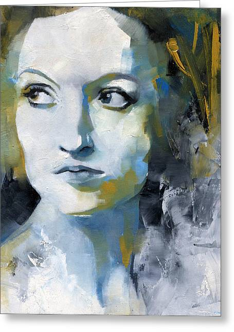 Abstract Portrait Greeting Cards - Study in Blue and Ochre Greeting Card by Patricia Ariel