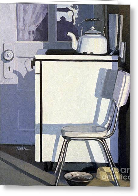 Stoves Greeting Cards - Study in White Enamel Greeting Card by Donald Maier