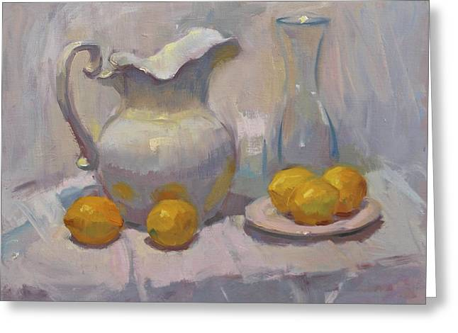 Study In White With Lemons Greeting Card by David Tanner