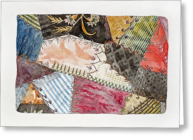 Crazy Quilt Greeting Cards - Study Jenny Camerons Quilt II Greeting Card by Jane Durrell