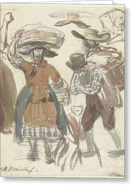 Het Greeting Cards - Study Journal of fishing couple with baskets on the head and on the back Greeting Card by Simon Andreas Krausz