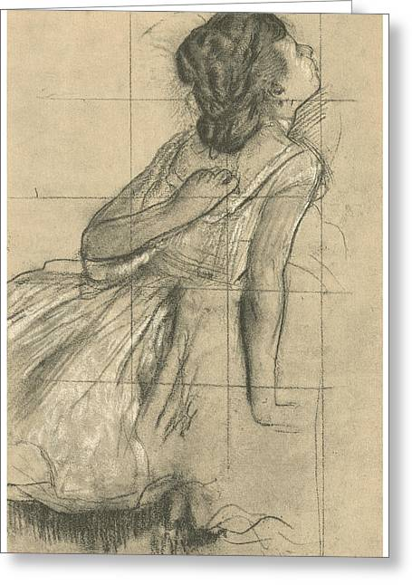 Study Of A Dancer Scratching Her Back Greeting Card by Edgar Degas