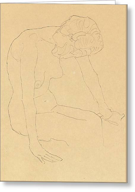 Study Of A Female Nude Greeting Card by Gustav Klimt