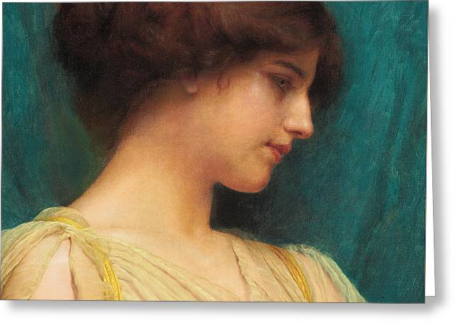 Woman Head Prints Greeting Cards - Study of a Girls Head Greeting Card by John William Godward