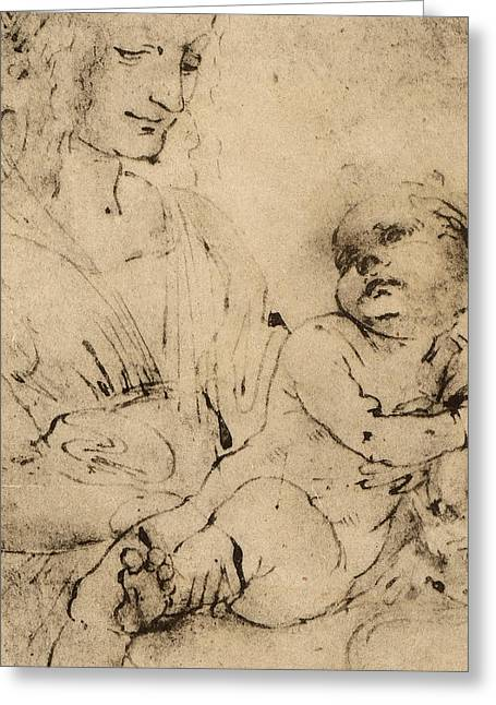 Study Of A Madonna And Child Greeting Card by Leonardo Da Vinci