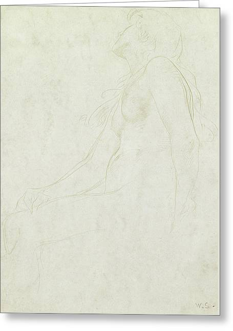 Study Of A Nude Greeting Card by William Strang