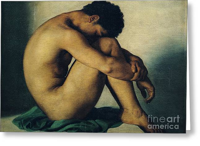 Youth Paintings Greeting Cards - Study of a Nude Young Man Greeting Card by Hippolyte Flandrin
