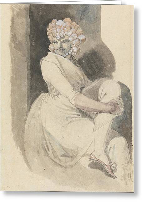 Romanticism Drawings Greeting Cards - Study of a Seated Woman Greeting Card by Henry Fuseli