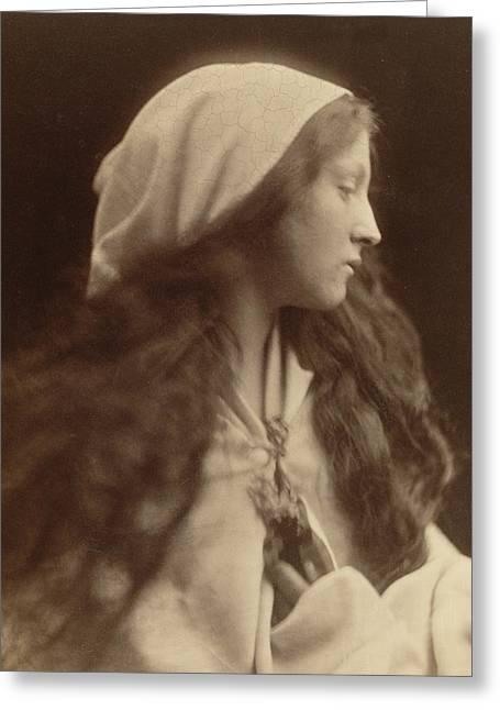 Study Of A Young Girl Dressed As A Peasant Greeting Card by Julia Margaret Cameron