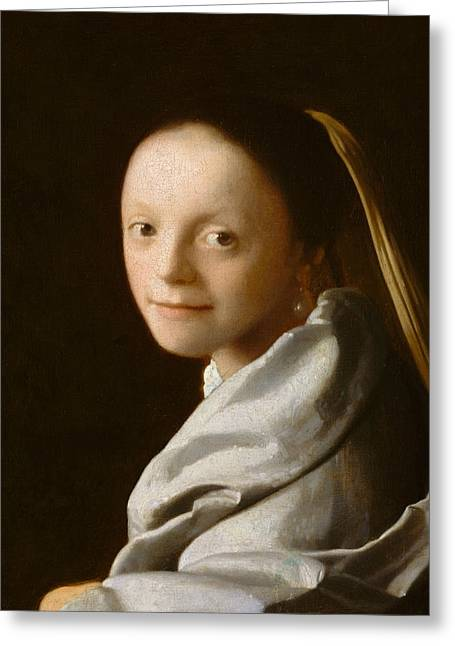 Study Of A Young Woman Greeting Card by Jan Vermeer