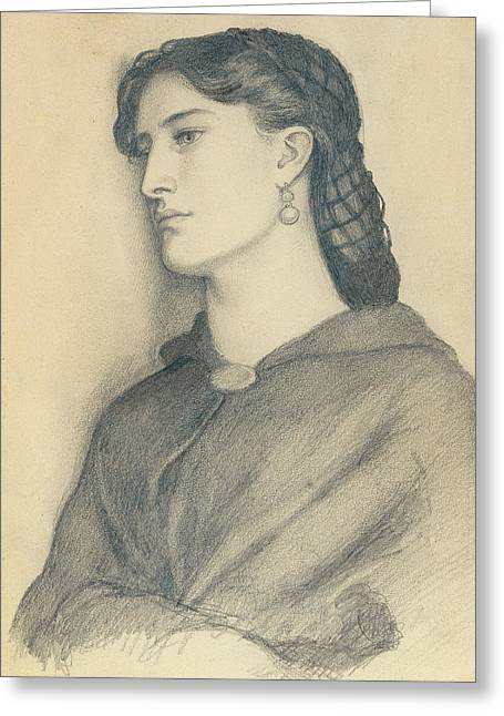 Profile Portrait Greeting Cards - Study of Aggie Manetti  Greeting Card by Dante Gabriel Charles Rossetti