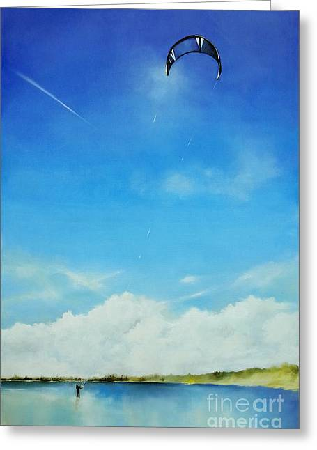 Kite Surfing Greeting Cards - Study of blue nr 3 oil painting Greeting Card by Maja Sokolowska