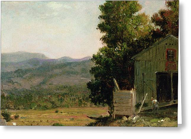 Study of Old Barn in New Hampshire Greeting Card by George Loring Brown