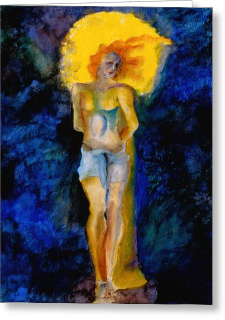 Spirit Pastels Greeting Cards - Study of St Sebastian Greeting Card by Erika Brown