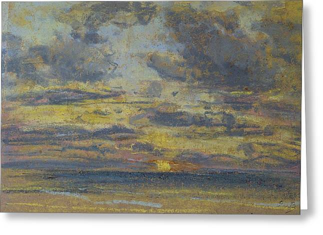 Evening Scenes Pastels Greeting Cards - Study of the Sky with Setting Sun Greeting Card by Eugene Louis Boudin