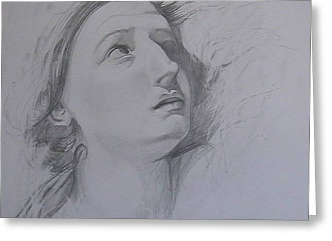 Concern Drawings Greeting Cards - Study of womans face Greeting Card by Jenny Abshier