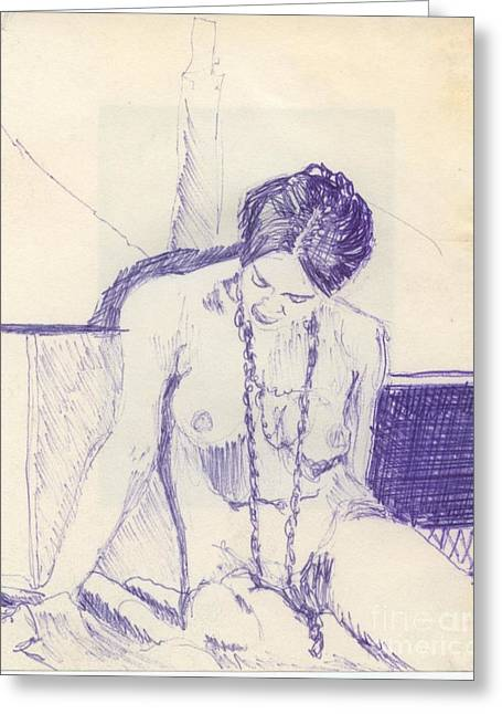 Ink Sketch Greeting Cards - Studying for Exams Greeting Card by Ron Bissett