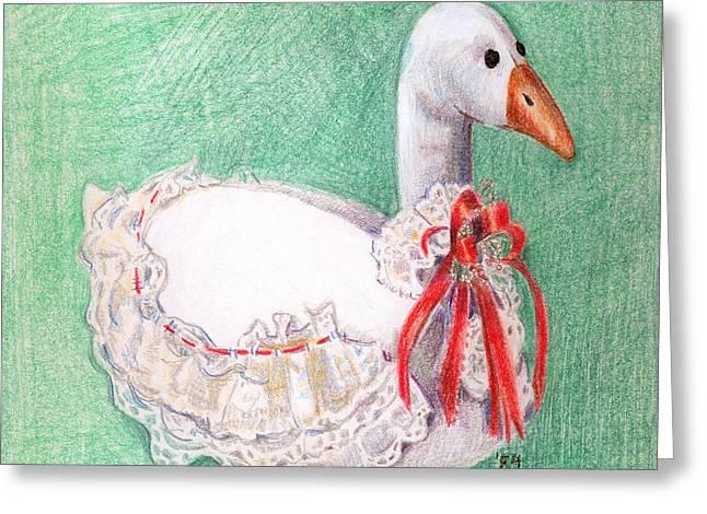 Geese Drawings Greeting Cards - Stuffed Goose Greeting Card by Arline Wagner