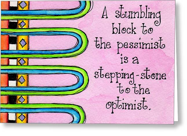Stepping Stones Greeting Cards - Stumbling Block Greeting Card by Debi Payne