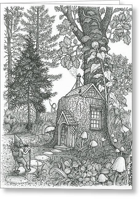 Sized Drawings Greeting Cards - Stumptown Lodgings Greeting Card by Bill Perkins