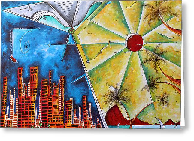Licensor Greeting Cards - Stunning Colorful PoP Art Martini Tropical City Skyline Original Painting Greeting Card by Megan Duncanson