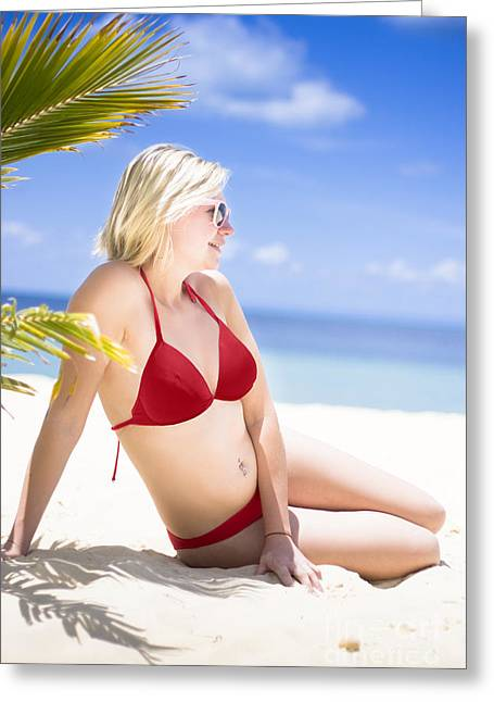 Island .oasis Greeting Cards - Stunning Woman At Beach Oasis Greeting Card by Ryan Jorgensen
