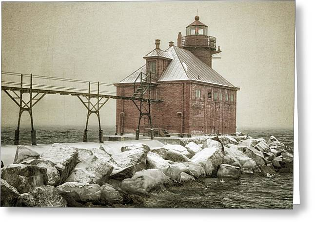 Blowing Snow Greeting Cards - Sturgeon Bay Pierhead Storm Greeting Card by Joan Carroll