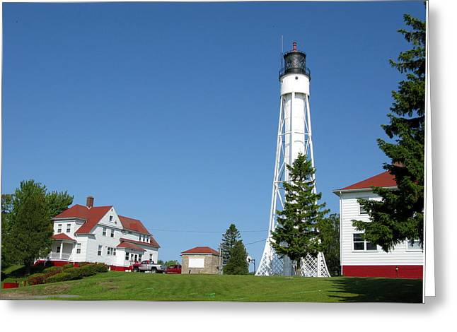 Historic Site Greeting Cards - Sturgeon Bay Ship Canal Lighthouse Greeting Card by Cindy Kellogg