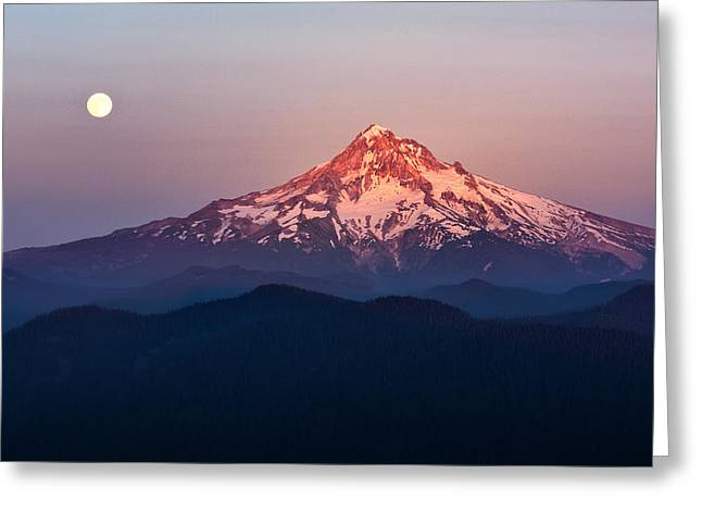 Mountain Valley Greeting Cards - Sturgeon Moon Over Mount Hood Greeting Card by Jon Ares