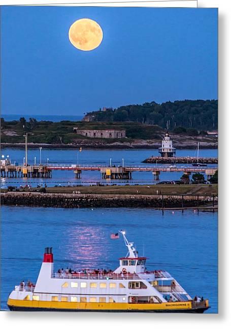 Sturgeon Moon Over White Head Greeting Card by Tim Sullivan