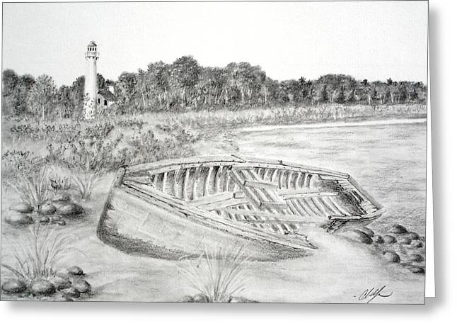 North Shore Drawings Greeting Cards - Sturgeon Point Greeting Card by Chris Fraser