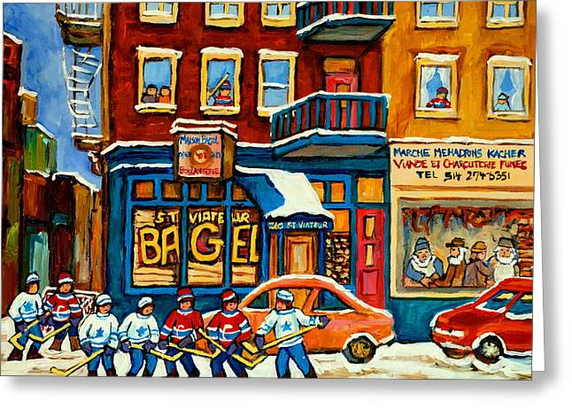 Montreal Winter Scenes Paintings Greeting Cards - St.viateur Bagel Hockey Montreal Greeting Card by Carole Spandau