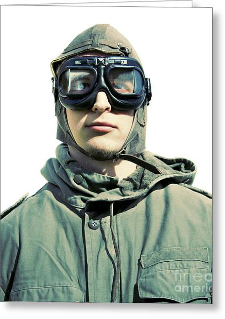 Military Airplanes Greeting Cards - Stylised Squadron Captain Greeting Card by Ryan Jorgensen