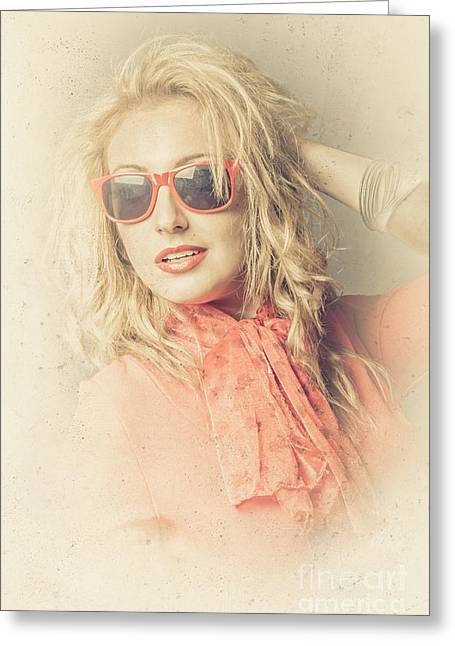 Apricot Greeting Cards - Stylish blond female beauty in vintage sunglasses Greeting Card by Ryan Jorgensen