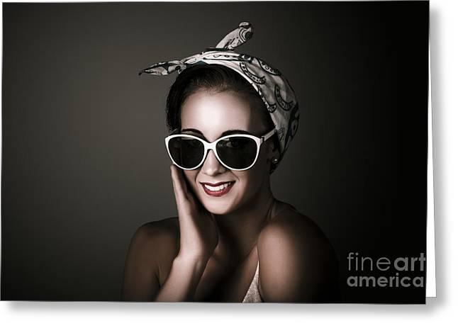 1960 Greeting Cards - Stylish Retro Woman Wearing Fashion Sunglasses Greeting Card by Ryan Jorgensen